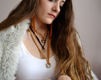 Molten Silver & Deer Hide Leather Circle Necklace