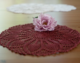 Now 30% off, Wine color handmade crochet doily from Poland 37cm (ca. 14.5in)