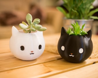 Cat Planter, cat lover gift, black, cat dad, 3d Printed, Kitty Planter, Kitty, Animal Planter, Birthday Gift, Cute, cat lover gift