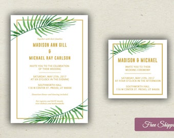Simple Hawaiian Tropical Wedding Invitation
