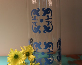 "Hand painted 5"" Diameter Candle Holder/Vase - Deep Blue Stylized Mosaic pattern"