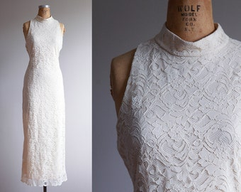 Sleeveless White Lace Maxi Dress