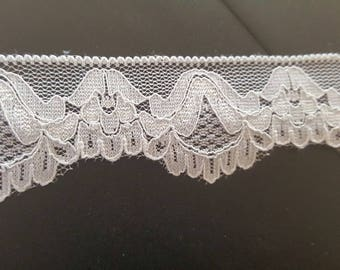 "Black / White Stretch Lace trim 1 1/4"" very soft great for Lingerie"
