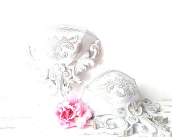 French Nordic White Pocket Sconces. Ornate Wall Pocket vases w Fleur de lis. Shabby CHic Cottage . Vintage Syroco Wall Pocket Vases.
