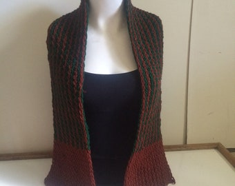 Green and brown 49 inch scarf.