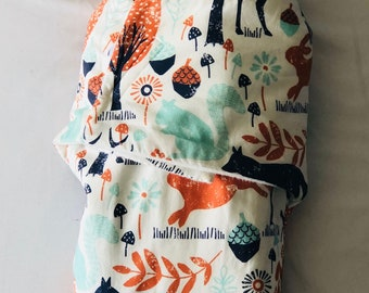 Woodland Animals Swaddle Blanket