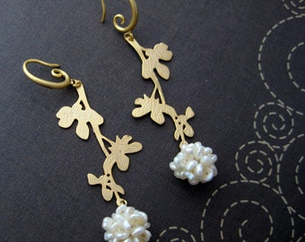 blossom - gold plated charm and natural pearl earrings