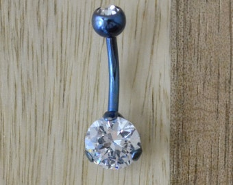 Clear Double Gem with Round Shape Single Prong Gem Blue Belly Button Ring Navel Body Piercing Jewelry