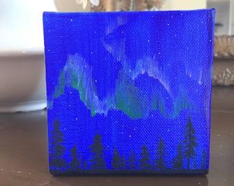Handpainted Northern Lights Canvas Art