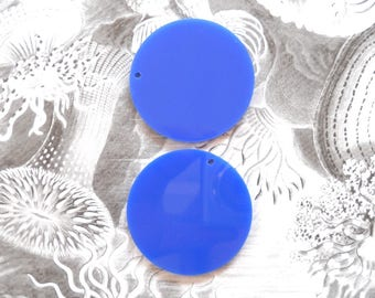 Blue Flat Back Discs, Acrylic Disc Pendants, Disc Large Pendant, Plexiglass Blank Circle Pendant, Laser cut disc, 1 Hole, set of 2 Discs