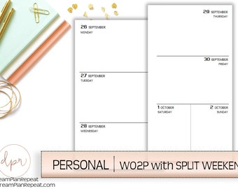 Personal Ring Size : Week On Two Pages w/Split Weekend | PRINTED Planner Inserts | DreamPlanRepeat