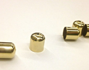 12 Pieces Gold Plated Bead Cap, Smooth Tube, Plain, Vintage, 10x12mm