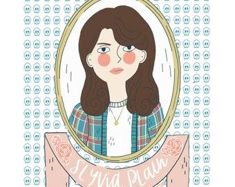 Sylvia Plath Illustration Portrait Wall Art Print