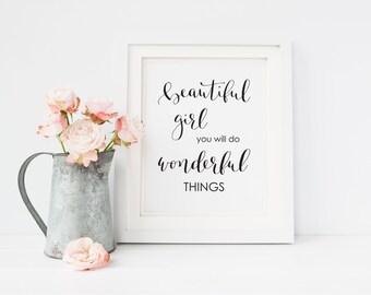 Beautiful Girl printable art, Baby Girl Nursery Wall Art, Calligraphy print, Nursery decor, Baby girl wall art, Art Print Instant Download