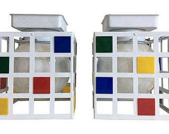 1960s Mondrian-Style Ceiling Lights, Pair