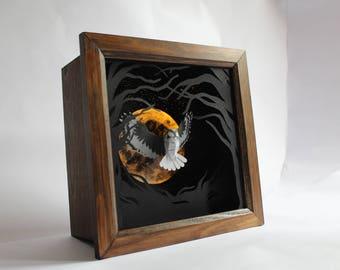 Luna Owl. Illuminated Paper-cut Owl Sculpture. 2017.