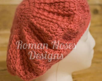 Coral Peach Crocheted Fannie Beret FREE SHIPPING