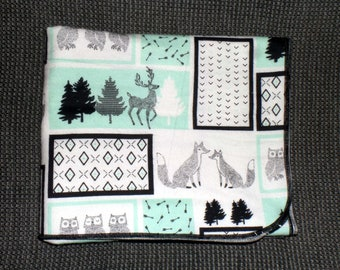 Woodland Animal Receiving Blanket - Fox Owl Swaddle Blanket - Baby Boy Receiving Blanket - Gender Neutral Swaddle Blanket - Baby Photo Prop