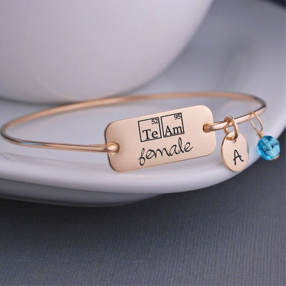 Team female periodic table elements bangle bracelet science team female periodic table elements bangle bracelet science jewelry inspirational jewelry womens empowerment jewelry urtaz Image collections