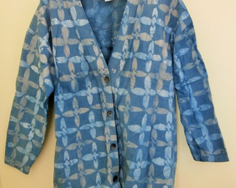 1980's, Batik, Heavy Cotton, Jacket, Moore Design, Hand Made in USA