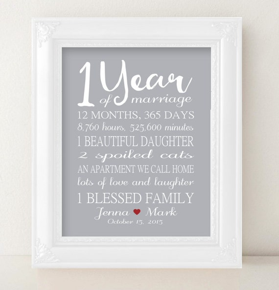 One Year Wedding Anniversary Gifts For Him: 1 Year Anniversary Gift 1st Anniversary PRINTABLE PRINT