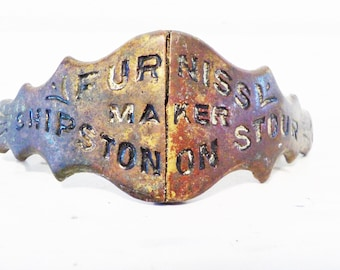 Chipston on Stour, Hinged pull, antique hardware, Furniss maker, brass pull, souvenir, English hardware, Industrial decor