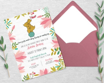 Elephant Baby Shower Invitation, gold, mint, pink, coral, multiples, triplets, twins, single, 5x7 Print at Home