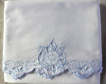 Vintage Bolster Pillowcase Soft Blue Cutwork - Soft Cotton - Farmhouse Style - Country Living - White Bedding - Vintage Linens
