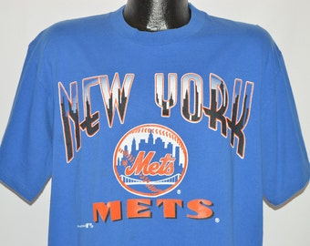New York METS 1990 Shirt/ Vintage NY Baseball MLB 90's Tshirt/ Black Made in UsA Heavy Duty Cotton Size X-Large cd4N9L5