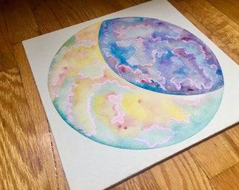 Yellow Iridescent Quarter Moon Painting (ORIGINAL)