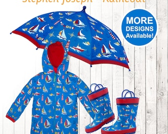 Nautical Raincoat, Personalized Kids Nautical Rain Gear, Nautical Raincoat, Kid's Nautical Rainboots, Boy's Umbrella, Sailboat Rain Set