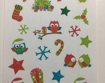 Christmas Owl stickers for planner/scrapbook