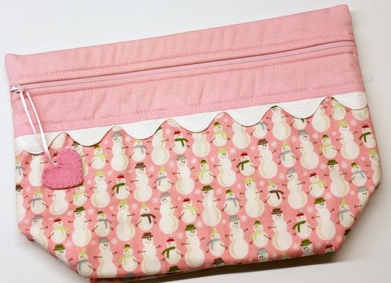 Lil' Big Bottom Pink Snowman Cross Stitch Bag