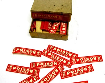 Antique Pharmacy Labels, 1920s Drug Store Poison Labels,Vintage Lot of 10 - Poison Caution - Skull & Crossbones Gummed Labels,Paper Ephemera