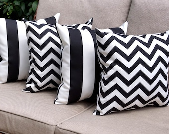 Black White Indoor/Outdoor STUFFED Outdoor Pillow, Chevron Black and Deck Stripe Black and White Outdoor Throw Pillow - Free shipping