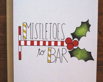 Fitness Christmas Greeting Card: Mistletoes to Bar