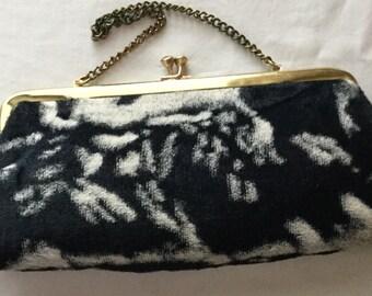 Vintage 1950s black and white animal print faux fur purse handbag clutch - retro mid-century rockabilly kitschy - cow print handbag