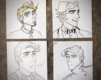 Dapper Doodles - Original Post-It Note Sketches - Set of 4