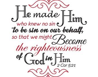 2 Corinthians 5:21 | Christian Wall Decal |