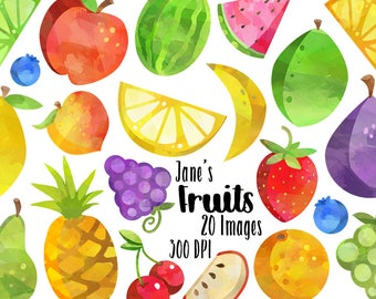 Watercolor Fruit Clipart - Fruit Variety Clipart - Instant Download - Lemons, Limes, Watermelon, and More!