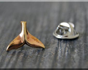 Brass Whale Tail Tie Tac, Whale Lapel Pin, Ocean Brooch, Gift for Him, Gift Under 10 Dollars, Tie Tack, Nautical Gift, Nautical Lapel Pin