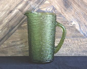 Retro Bark pattern Green glass jug