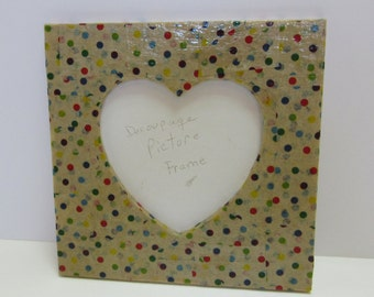 Decoupage Picture Frame Heart Shaped Photo Paper Mache Polka Dot Spring Easter Multi Color Unique Stand Up Decorated Housewarming Gift