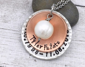 Memorial Necklace - Personalized Remembrance Necklace - Stacked Necklace - Mixed Metals - Hand Stamped