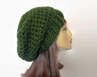 Green Slouch Beanie Green Crochet women's Hat  Forest Green Knit Beanie Olive Crochet Beanie  Forest Green Slouchy Beret Green slouch Tam