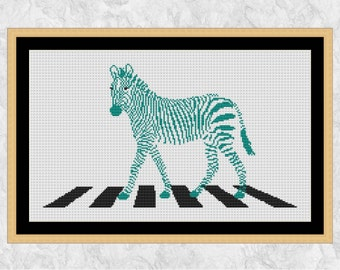 Zebra cross stitch pattern, zebra crossing counted cross stitch printable, animal, fun, funny, zoo, Africa, safari, PDF - instant download