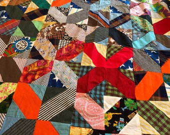 Vintage 1940's-to-1960's Feedsack Quilt Top Bright Colors Kitschy Kalidescope Unfinished