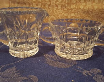 Vintage Cut Glass/Crystal Sugar and Creamer Set