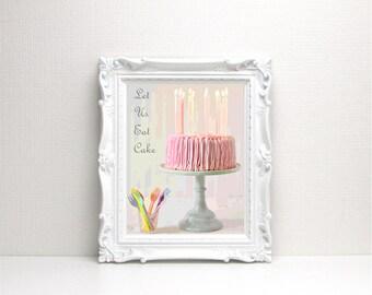 Let Us Eat Cake Digital Art Print - Instant Download, Birthday Cake, Cake Printable, Bakery Art, Kitchen Wall Art, Typography, Dessert, Pink