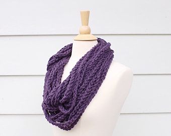 Crochet chain scarf necklace, purple necklace infinity scarf, purple chain crochet scarf, purple scarf necklace, crochet braid scarf